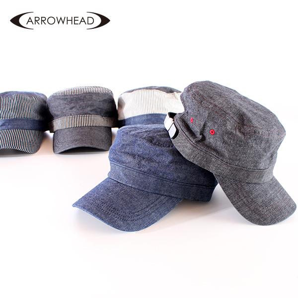 【即納】ARROWHEAD アローヘッド シャンブレーワークキャップ 大きいサイズ 帽子