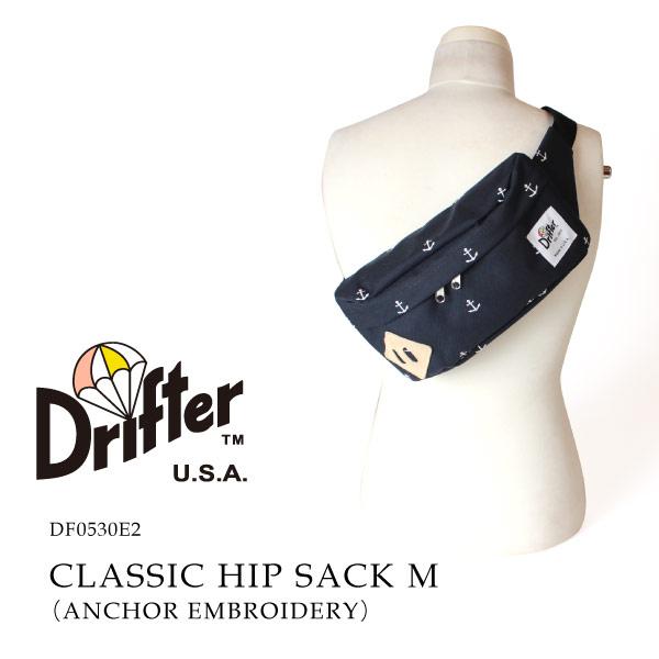 (ドリフター) Drifter クラシックヒップサック ボディバッグ ヒップバッグ ウエストバッグ ANCHOR EMBROIDERY