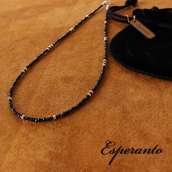 【即納】esperanto ブラックスピネル ネックレス シルバービーズ 45cm エスペラント 【ネコポス対応/メール便送料無料】