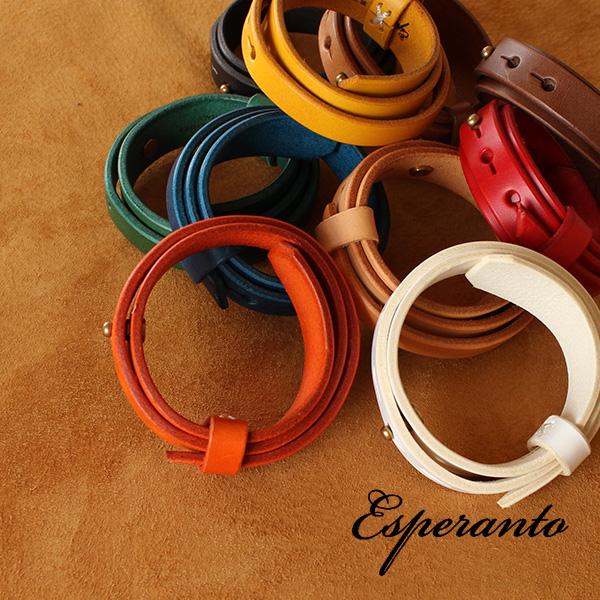 【即納】esperanto 3連レザーブレスレット 3重巻 ブッテーロレザー エスペラント 【ネコポス対応/メール便送料無料】