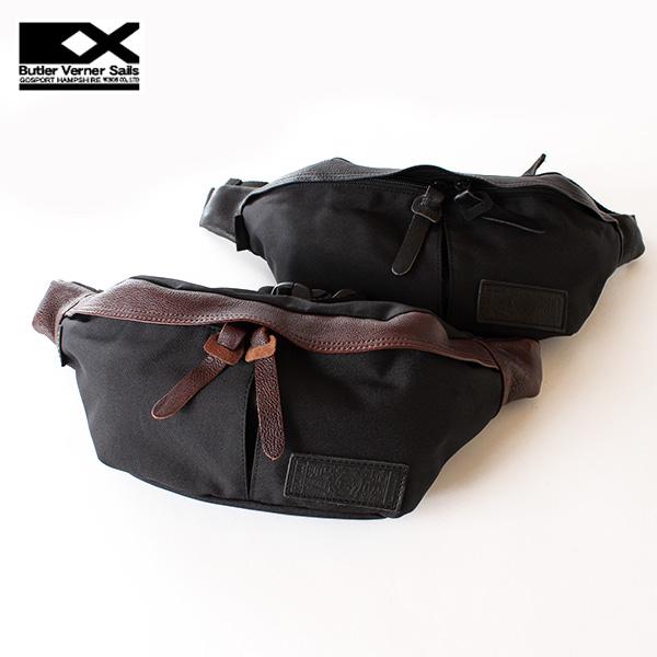 翌日配達【即納】【送料無料】Butler Verner Sails コーデュラナイロン ボディバッグ ヒップバッグ ウエストバッグ 牛革 レザー付属 バトラーバーナーセイルズ 鞄