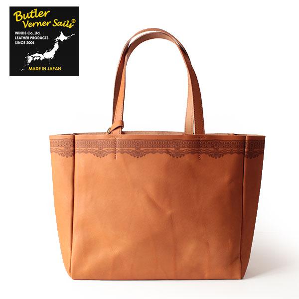 【即納】【送料無料】Butler Verner Sails ビッグトートバッグ 牛ヌメ革 レーザー刻彫 鞄 バトラーバーナーセイルズ