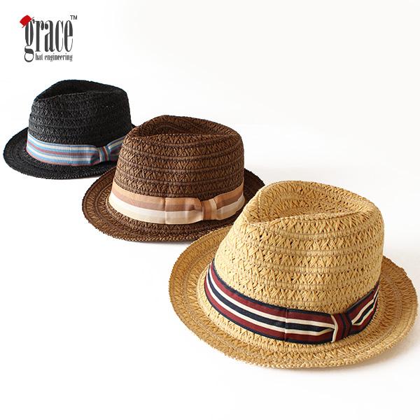 【即納】grace hats グレースハット ペーパーハット フルートハット FLUTE HAT 中折れハット 麦わらハット 麦わら帽子 帽子