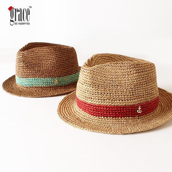 【即納】grace hats グレースハット ラフィアハット 麦わらハット 麦わら帽子 TIP HAT 中折れハット 帽子