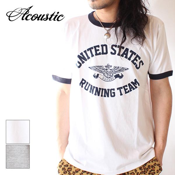 【即納】Acoustic アコースティック メンズ リンガーTシャツ カットソー UNITED STATES RINGER TEE