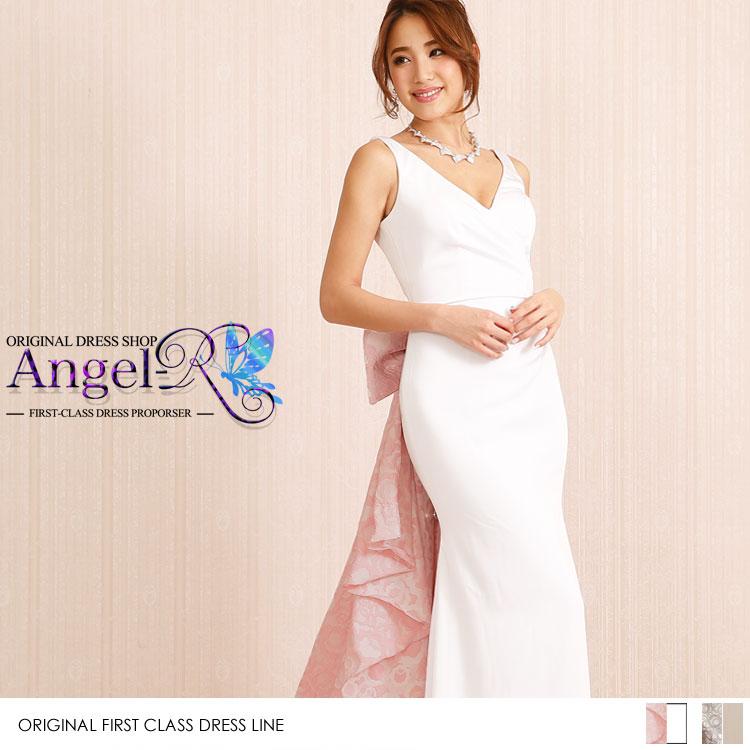 ビッグリボン 背中開き プリーツ ロングテール マーメイドドレス 大人ロングドレス|高級キャバドレスAngelR(エンジェルアール)|(AR6219)