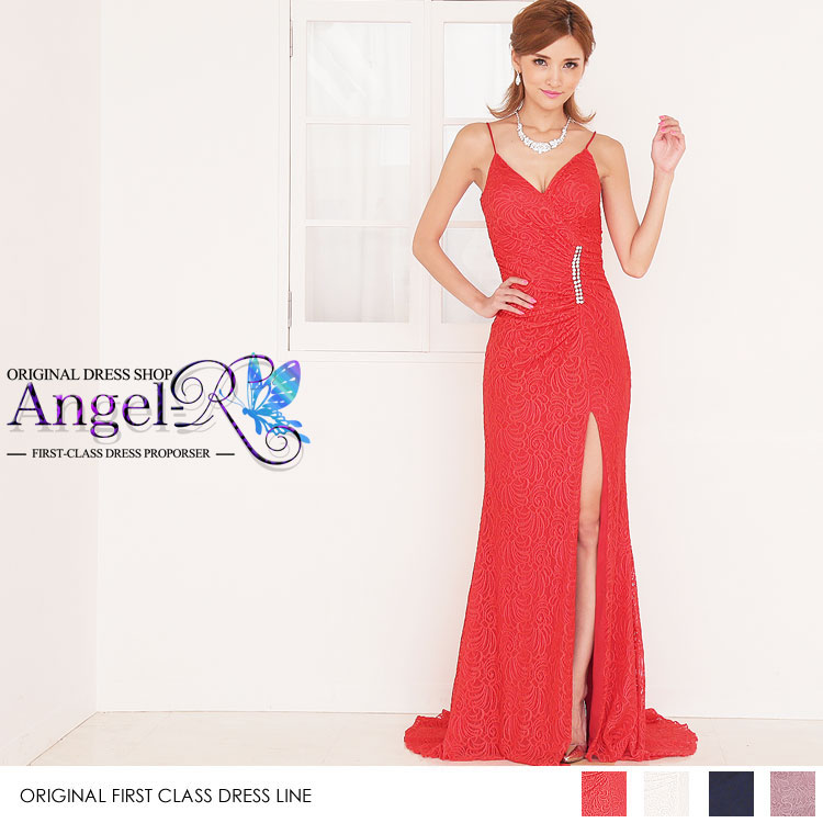 総レース刺繍 ジャガード スリット ビジューギャザー寄せ  ロングテール ロングドレス(AR6713)