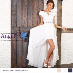ショートインロング 前ミニinロングドレス 2WAY オフショルダー レース刺繍 ビジュー&パール|高級キャバドレスAngelR(エンジェルアール)|(AR7305)