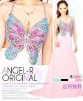 バタフライモチーフロングドレス。胸元インパクト その蝶の美しさにうっとり |高級キャバドレスAngelR(エンジェルアール)|(11314)