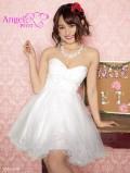 胸元フラワーレス飾り姫チュールミニドレス 高級キャバドレスAngelR(エンジェルアール) (PT-101)