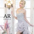 ビジューたっぷりふわふわフリルの前ミニウエディングドレス|高級キャバドレスAngelR(エンジェルアール)|(AR2216)