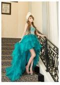 グラデーションビジューの高級ハイ&ローロングドレスボリュームドレス|高級キャバドレスAngelR(エンジェルアール)|(AR3631)