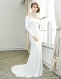 ネックレス風飾り付長袖マーメイドロングドレス|高級キャバドレスAngelR(エンジェルアール)|(AR5112)
