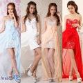 ショートインロングドレス フラワー刺繍レースタイト系ベアトップ中ミニロングドレス|高級キャバドレスAngelR(エンジェルアール)|(AR5506)