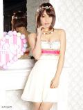 胸元ラインストーン飾り付グラデーションフレアミニドレス|高級キャバドレスAngelR(エンジェルアール)|(PT-114)