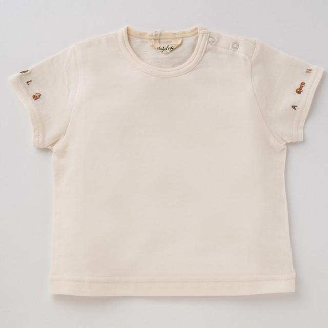 オーガニックコットン100%Tシャツ(袖口刺繍)