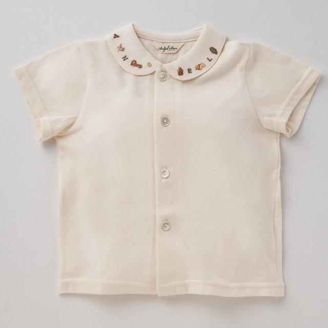 オーガニックコットン100% 襟刺繍入り半袖ブラウス