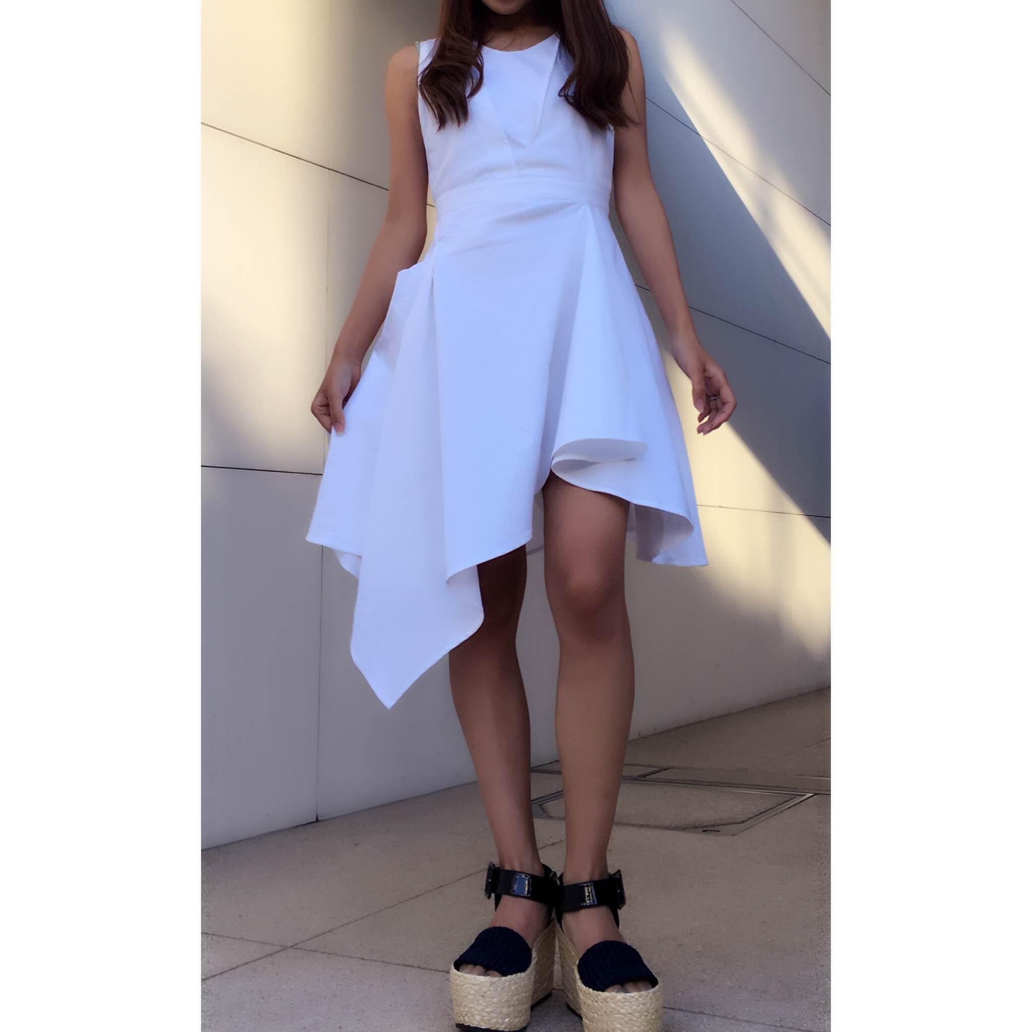 【SALE】【selva secreta】DENIM ASYMMETRY DRESS (denim white)