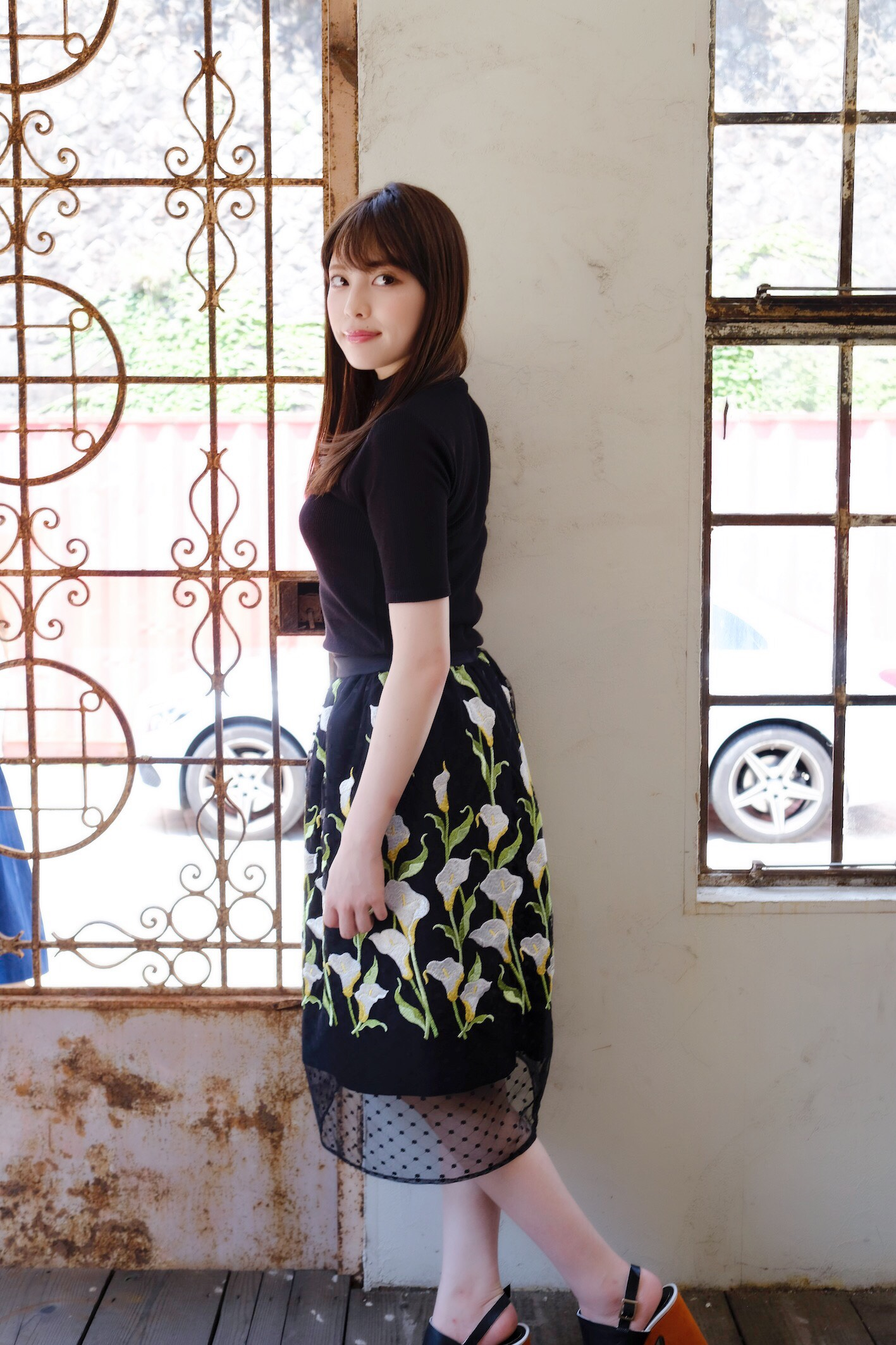 【限定発売】【selva secreta】FLOWER SKIRT(black)