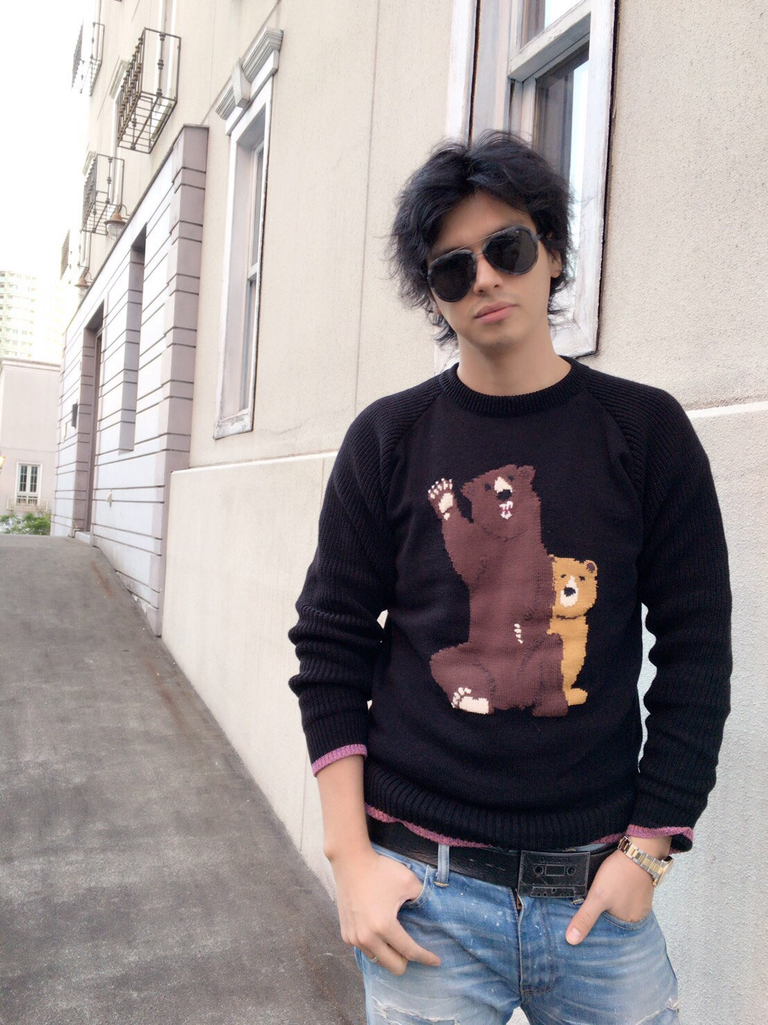 【selva secreta】MEN'S BEAR KNIT(black)