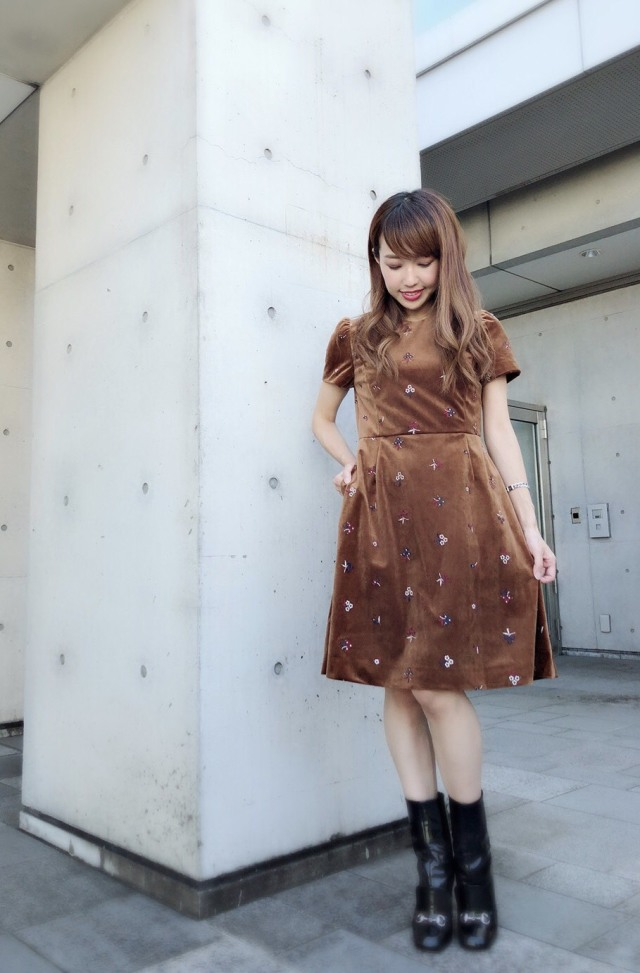 【selva secreta】Flower Velour DRESS(brown)