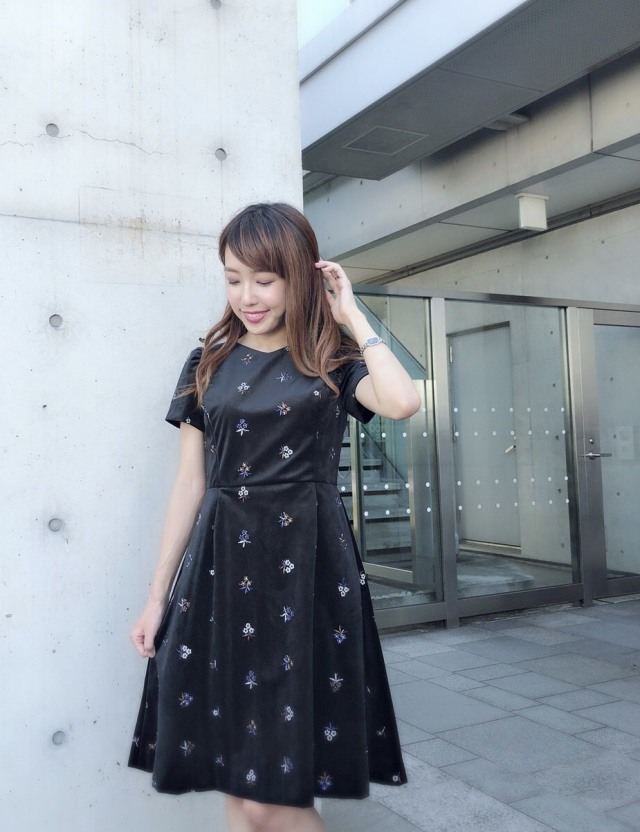 【selva secreta】Flower Velour DRESS(black)