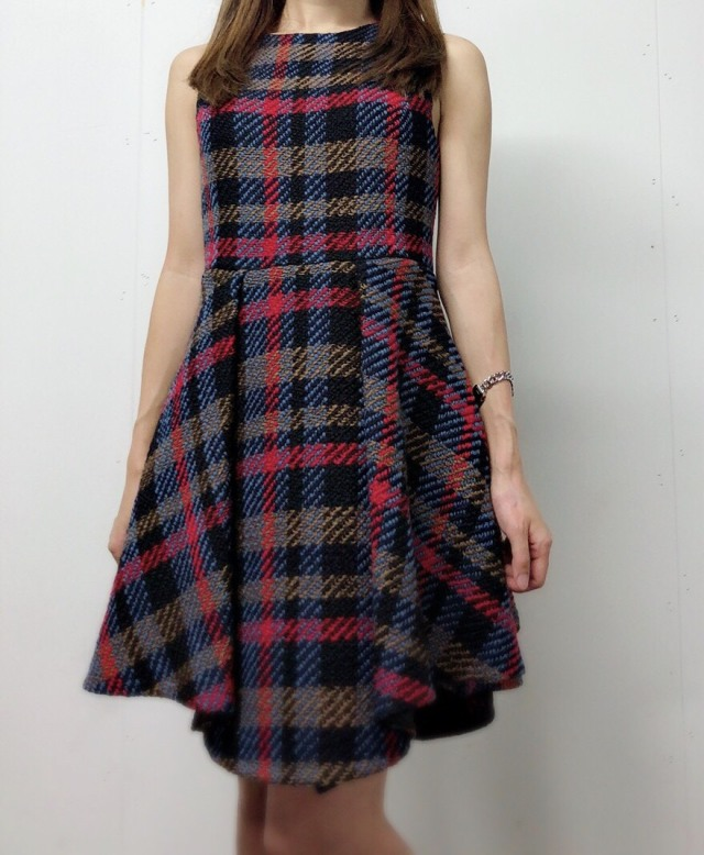 【selva secreta】WOOL CHECK  DRESS(blue)