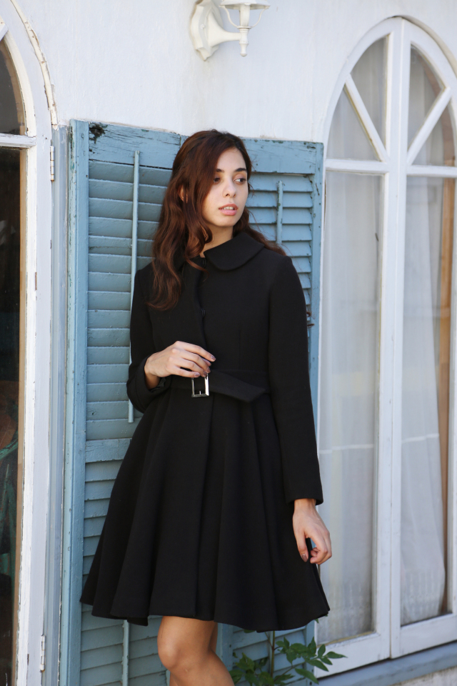 【selva secreta】WOOL FLARED  COAT The latest edition(black)