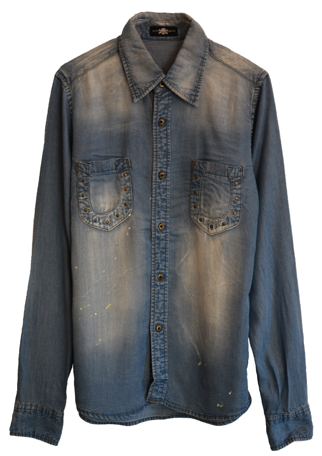 【ANTIMINSS】 HORSE SHOE DENIM SHIRT(LIGHT-blue)