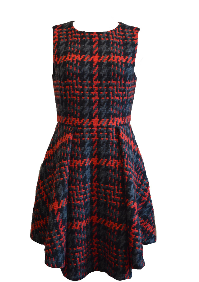 【予約販売】【selva secreta】WOOL CHECK LIMITED DRESS(red)