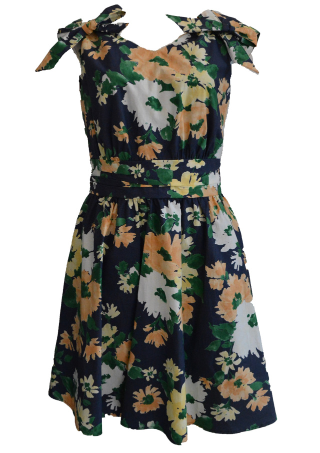【予約販売】【selva secreta】FRENCH FLOWER DRESS(navy)