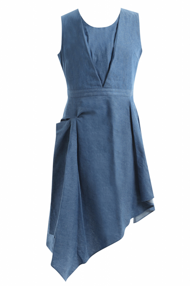 【SALE】【selva secreta】DENIM ASYMMETRY DRESS (denim blue)