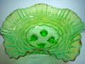 アンティーク グリーンオパールセント 乳白×赤色フリルのガラスボウル【AWG0026】