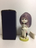 水森亜土 陶器製 人形 作家物 アド・ファンシードール 18.3cm 当時物 箱付 現状 【TO4124】