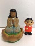蓮の花 合掌 ソフビ人形 13.5cm 当時物 JAPAN 現状 詳細不明 【TO4166】