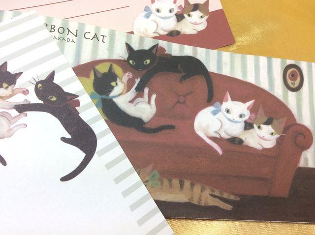 【送料164円】仲田愛美先生の描く可愛い猫雑貨リボンキャットの一筆箋