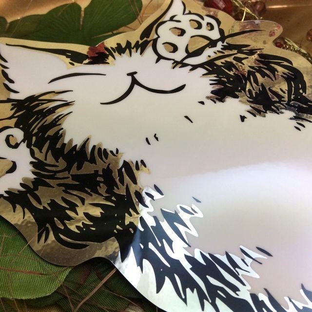 【送料164円】猫雑貨デザイナー、池田晶子先生が描く猫のダヤンの内側&外側両側から見れるインサイドステッカー