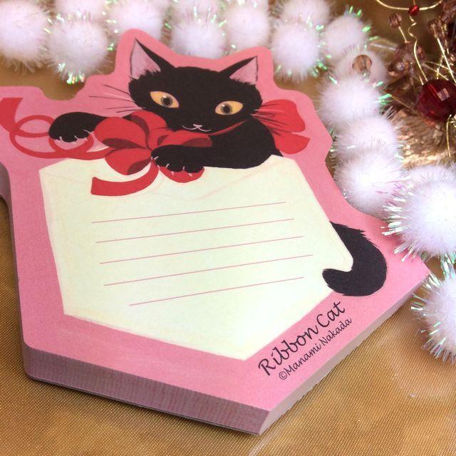 【送料164円】猫雑貨デザイナー仲田愛美さんが描くRibbon catダイカットメモ黒ねこ