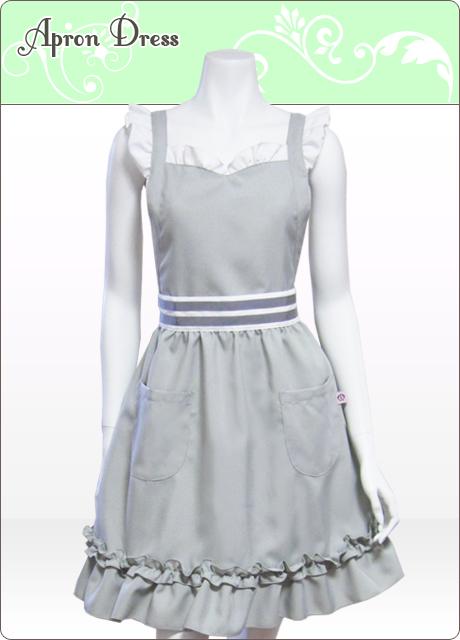 シルバーグレー/ホワイト 胸元ハートフリルエプロンドレス(シュシュ付き)