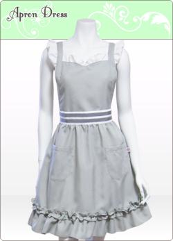 シルバーグレー/ホワイト 胸元ハートフリルエプロンドレス(シュシュ...