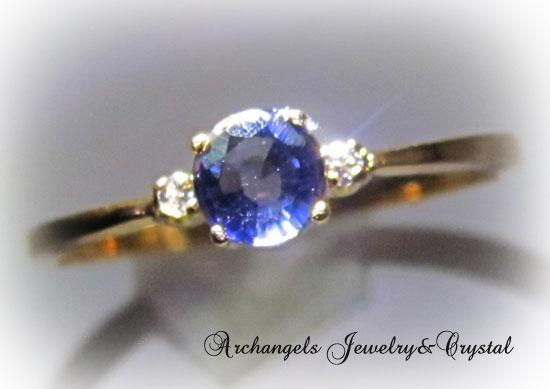 サファイアwithダイヤ14K・リング*12号,Blue Sapphire