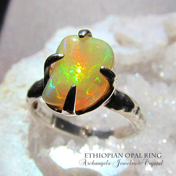 天然石 アクセサリー パワーストーン| エチオピアンオパール エチオピア産オパール イエローオパール リング
