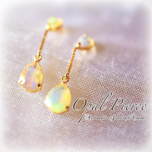 天然石 パワーストーン| オパール Opal ピアス 18K 18金