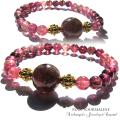 天然石 オーダーブレス パワーストーン|ルベライト × ピンクトルマリン  ブレスレット