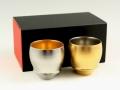 【有田焼 匠の蔵】 金閣・銀閣 ペア(丸)SAKE GLASS(日本酒グラス)