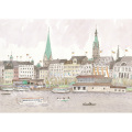 安野光雅の版画「ドイツ、ハンブルグ」