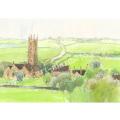安野光雅の版画「イギリス、バースの近くの村」
