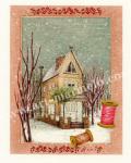 遠藤あんりの版画「雪のストリートオルガン」