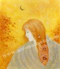 目黒直子の原画「月」、版画の通販専門店アートロマルメロ