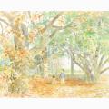 北沢優子の版画「落ち葉」